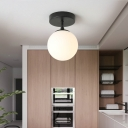 1 Bulb Brass/Black Finish Close to Ceiling Light with Frosted Globe Glass Shade Minimalist Semi-Flushmount Light