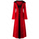 Women's Color Block Lace Up Patchwork Long Sleeve Hooded Maxi Halloween Robe Dress