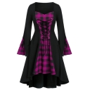 Fashion Women Plaid Paneled Lace Up Bell Sleeve Halloween Party Dress