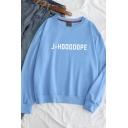Simple Letter J-HOOOOOPE Print Round Neck Oversized Pullover Sweatshirt