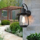 Nautical Cylinder Shade Sconce Light Fixture 1 Light Clear Seedy Glass Sconce Light in Black