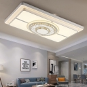 Integrated Led Rectangle Flushmount Lighting Modernism Metal White Led Flush Ceiling Light with Amber Crystal Accents