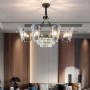 Modern Round Chandelier Lamp 4/6/8 Heads Clear Crystal and Glass Ceiling Hanging Light in Matte Black Finish