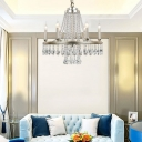Nickle Candle Pendant Light 6 Lights Country Style Chandelier Lighting with Clear Crystal Prisms
