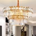 Tiered Round Pendant Lighting Clear Faceted Crystal 8 Bulbs Modern Hanging Ceiling Light in Gold