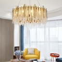 Modern Drum Suspension Light with Clear Crystal Beaded Strand 12 Lights Living Room Lighting in Brass