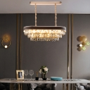 Modern Linear Chandelier Lighting Metal and Clear Crystal Shade Height Adjustable 10 Lights Gold Pendant Light