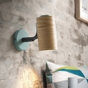 Cylindrical Wood Wall Mount Light Fixture Minimalism 1 Light Yellow/Blue/Green Sconce Light Fixture for Bathroom