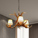 3/5/6/8/12 Lights Cone Hanging Light with Antlers Height Adjustable Vintage Resin Chandelier Light Fixture in Khaki