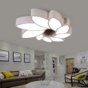 Led White Ceiling Flush Light with Flower Shaped Shade Modern Indoor Ceiling Light for Bedroom