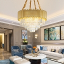 3-Tier Crystal Hanging Lamps Contemporary Metal 16