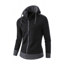 Stylish Color Blocking Drawstring Hood Long Sleeve Zip Up Slim Fit Hoodie with Pocket