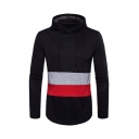 Colorblocked Stripe Trimmed Long Sleeve Curved Hem Longline Drawstring Hoodie