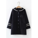 Navy Collar Cartoon Bear Stripe Printed Single Breasted Longline Woollen Coat Jacket