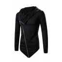 Black Oblique Zipper Design Long Sleeve Asymmetric Hem Sweatshirt