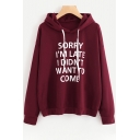 Simple Letter Printed Long Sleeves Pullover Loose Hoodie