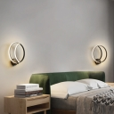 Circle Ring Sconce Lighting Simple Modern Led Bedside Wall Mounted Light in Black