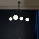 4 Lights Sphere Chandelier Light Modern Frosted Glass Hanging Light in Black Finish