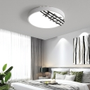 White Round Flush Ceiling Light Modern Simple LED Metal Flush Mount Light with Bamboo Pattern
