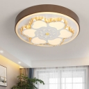 Circular Hotel Office Ceiling Light with Flower Acrylic Modern Stylish LED Ceiling Mount Light in Brown/White