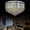 Modern Circular Flush Ceiling Light with Crystal Ball and Curved Decor Metal LED Ceiling Lamp for Study Room
