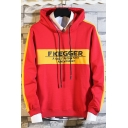 Mens Trendy Colorblock Letter Printed Zip Embellished Long Sleeve Casual Loose Hoodie