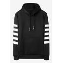 Mens New Stylish Stripe Printed Long Sleeve Loose Fit Casual Drawstring Hoodie with Pocket