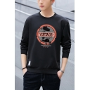 Mens Stylish Letter VINTAGE Graphic PrintedLong Sleeve Round Neck Casual Pullover Sweatshirt