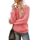 New Fashion Round Neck Long Sleeves Plain  Fluffy Teddy Pullover Sweatshirt