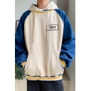 Popular Letter OFF Printed Colorblock Long Sleeve Casual Drawstring Pullover Unisex Loose Hoodie
