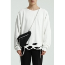 Men's Vintage Simple Plain Ripped Detail Long Sleeve Sweatshirt