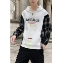 Men's New Trendy Letter MTALE Print Plaid Patch Long Sleeve Casual Drawstring Hoodie
