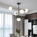 3/5 Lights Oval Chandelier Lamp Modernism Opal Glass Hanging Pendant Light in Chrome
