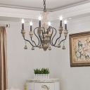 Rustic Wood Chandelier Lamp Exposed Bulb 6 Lights Grey Hanging Ceiling Light with Adjustable Chain