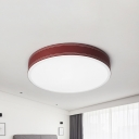 Blue/Brown/Green/Red Drum Flush Lighting Minimalist Metal Led Ceiling Flushmount with Acrylic Diffuser, 12
