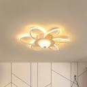 White Floral Flush Mount Ceiling Light Warm/White Light 6/12/18-LED Modern Living Room Lighting