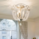 Traditional Ceiling Chandelier Lamp 3 Lights Metal Silver Pendant Lighting with Clear Crystal