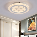 Honeycomb Ceiling Light Modern Acrylic Warm/White/Natural Ceiling Light Fixture in White for Indoor
