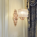 1 Light Cube Wall Light Contemporary Clear Crystal Wall Sconce in Rose Gold for Corridor Bathroom