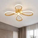 Gold Floral Ceiling Flushmount Light Contemporary Metal 1 Light Led Indoor Lighting in Warm/White, 21.5