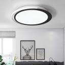 Modern Round Flush Mount Light Metal Black and White Led Flush Lighting for Living Room