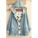 Plain Simple Graffiti Print Long Sleeve Casual Hooded Jacket