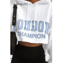 New Fashion LONDON Letter Printed Long Sleeve White Cropped Hoodie