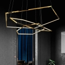 Polished Brass Geometric Chandelier Light Modernism Metal Led Pendant Lamp with Adjustable Cord