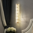 Contemporary Fluted Shape Wall Light Clear Crystal Metal Gold Wall Lamp for Bedroom Shop