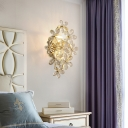 Modern Blossom Wall Light Clear Crystal and Metal Sconce Lamp in Gold for Bedroom Dining Room