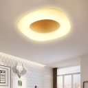 Contemporary Circle/Square Flush Ceiling Light Acrylic White LED Ceiling Lamp for Porch Bathroom