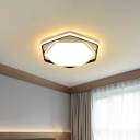 Black/White Hexagon/Round Flushmount Minimalist Metal Led Flush Lighting for Living Room, 19