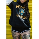 Fashion NYPD Letter Popular Logo Printed Panel Sleeve Unisex Drawstring Hoodie