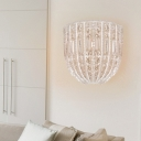 Bowl Wall Lamp with Clear Crystal Shade 1 Light Traditional Wall Mounted Lighting for Bedroom